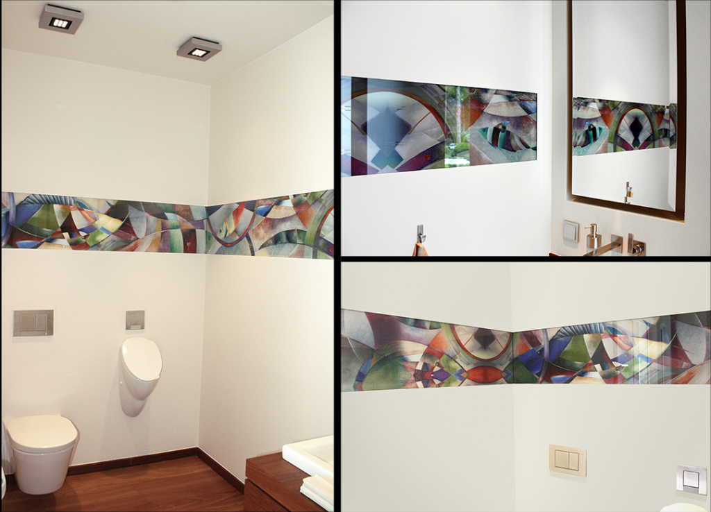 Gestaltung eines Gäste-WC in einer Villa mit drei Visiolith-Glaselementen. Größe der Glaselemente: 1,105m x 0,34m 1,6m x 0,34m 2,055m x 0,34m Motiv: pineapple glow