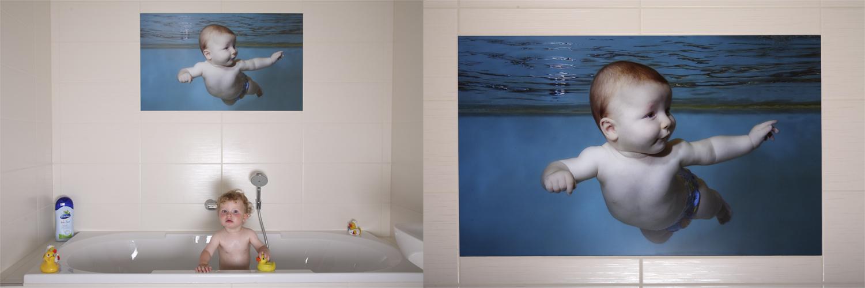 Hochauflösende Unterwasserfotografie als Visiolith-Glaselement über der Badewanne. Oberfläche: Bilderglas entspiegelt / Format: 600mm x 1000mm / Motiv: Kundendatei